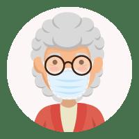 戴着面具的老女人